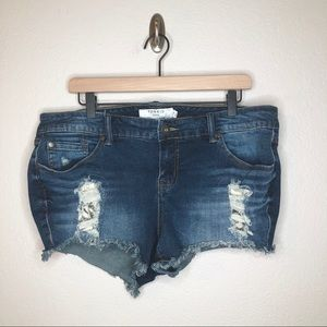 Torrid Raw Hem Distressed Shorts Lace Detail